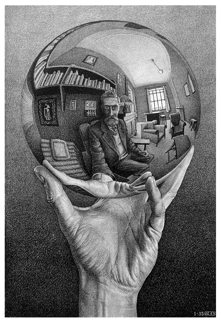 M. C. Escher, Hand with Reflecting Sphere, Lithograph