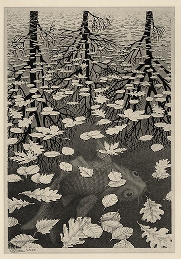 M. C. Escher, Three Worlds, Lithograph