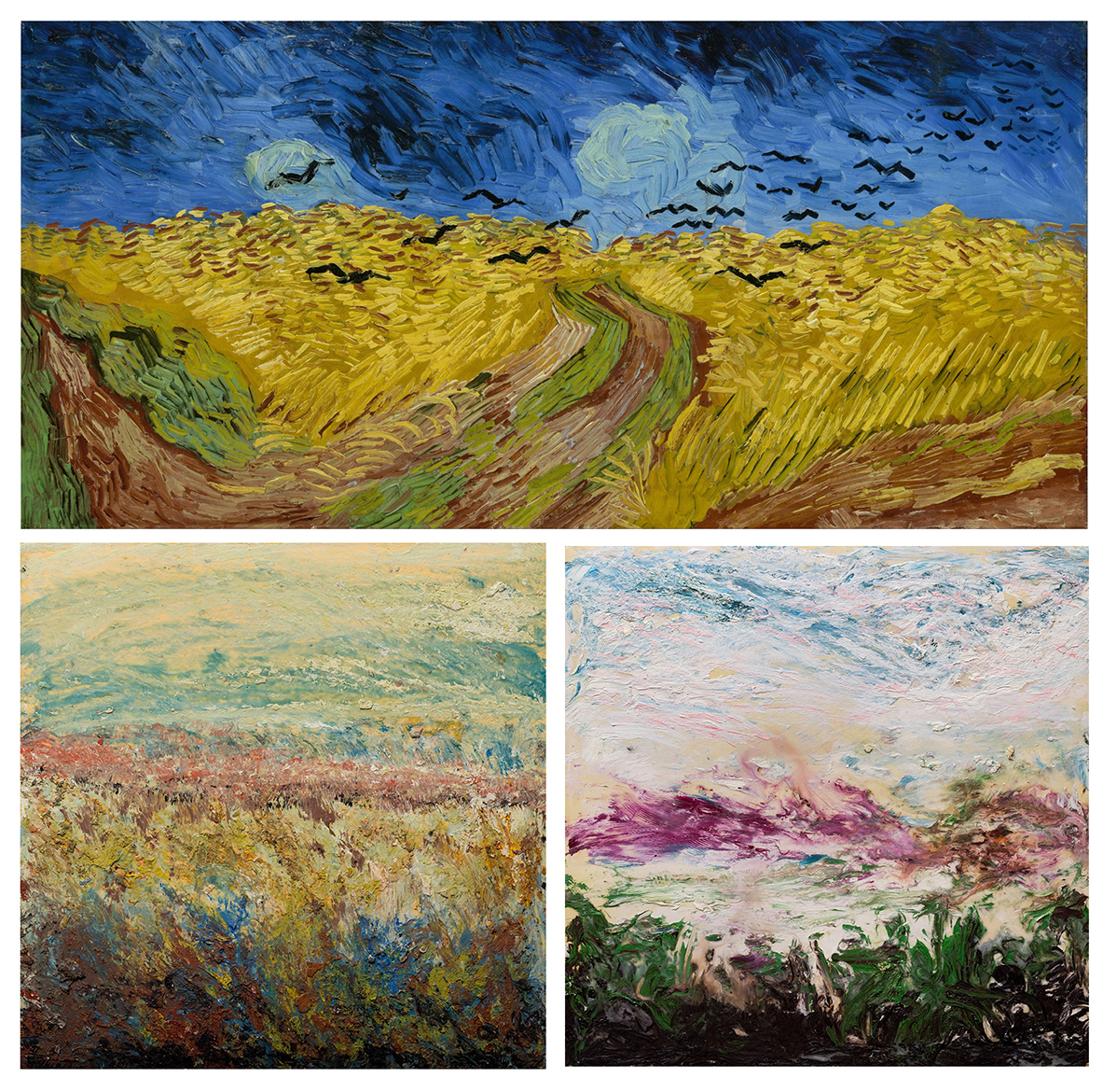 (top) Vincent van Gogh, Wheatfield with Crows (1890), (bottom left) Sam Bartman, Untitled (2008), (bottom right) Sam Bartman, First Attempt (1998),