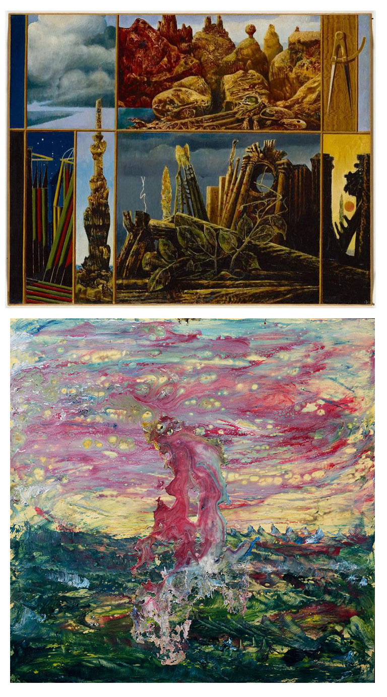(top) Max Ernst, Painting For Young People (1943); (bottom) Sam Bartman, A New World (n.d.), mixed media on reflective plastic sheet, 17 x 17 inches